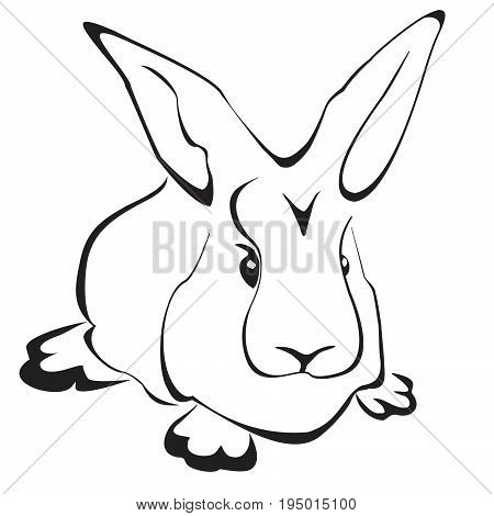 Rabbit in flat style isolated on white background. Rabbit icon for web design.