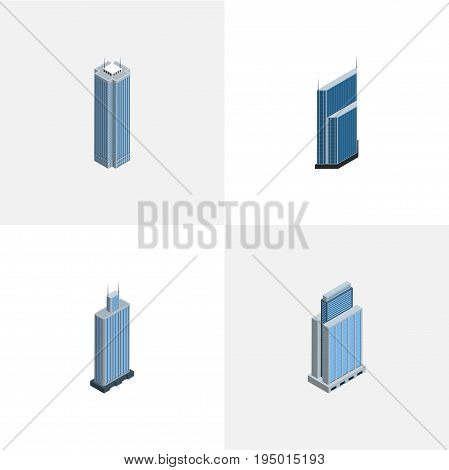 Isometric Construction Set Of Skyscraper, Business Center, Urban And Other Vector Objects. Also Includes Urban, Business, Center Elements.
