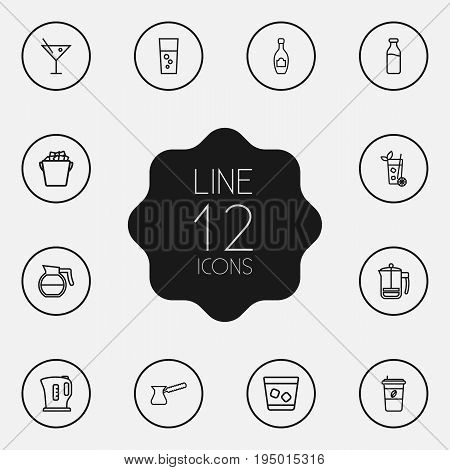 Set Of 12 Drinks Outline Icons Set.Collection Of Coffeepot, Pot, Champagne And Other Elements.