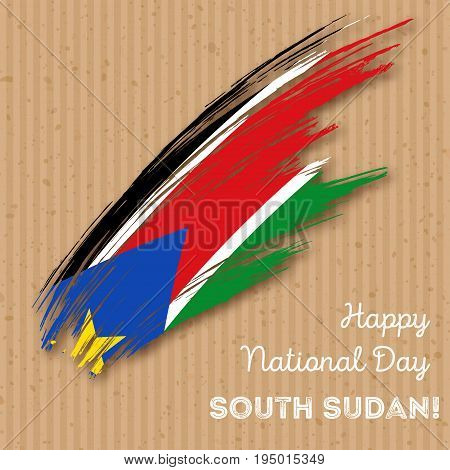 South Sudan Independence Day Patriotic Design. Expressive Brush Stroke In National Flag Colors On Kr