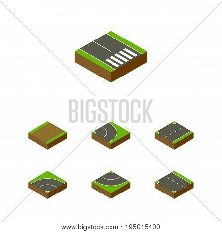 Isometric Road Set Of Upwards, Pedestrian, Footpath And Other Vector Objects. Also Includes Asphalt, Pedestrian, Strip Elements.