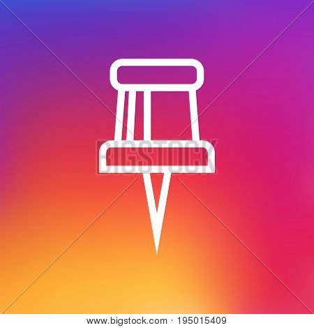 Isolated Pin Outline Symbol On Clean Background. Vector Pushpin Element In Trendy Style.