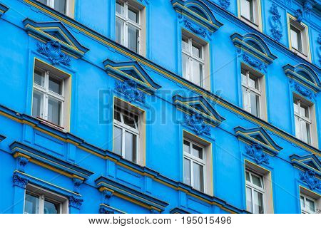 Blue Building Facade , Restored Facade In  Berlin