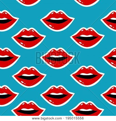 Cosmetics And Makeup Seamless Pattern. Closeup Beautiful Lips Of Woman With Red Lipstick And Gloss.