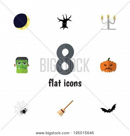 Flat Icon Festival Set Of Pumpkin, Candlestick, Monster Vector Objects. Also Includes Terrible, Pumpkin, Candle Elements.