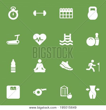 Set Of 16 Training Icons Set.Collection Of Meditate, Basin, Blower And Other Elements.