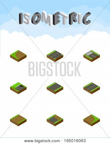 Isometric Road Set Of Unfinished, Turning, Unilateral And Other Vector Objects. Also Includes Unilateral, Cracks, Rotation Elements. poster