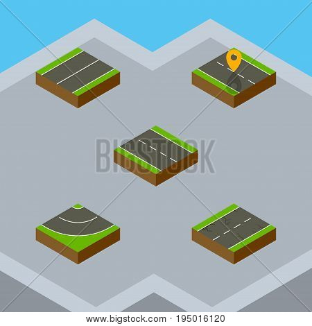 Isometric Way Set Of Single-Lane, Plane, Navigation And Other Vector Objects. Also Includes Road, Driveway, Location Elements.
