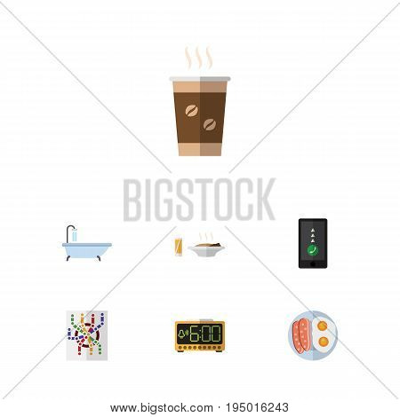 Flat Icon Oneday Set Of Cappuccino, Fried Egg, Lunch And Other Vector Objects. Also Includes Time, Sausage, Cappuccino Elements.