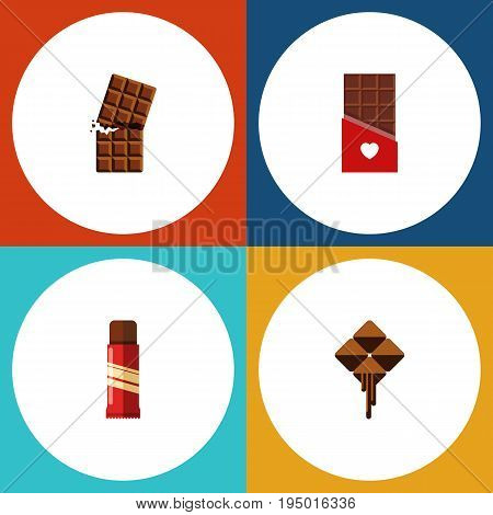 Flat Icon Bitter Set Of Sweet, Chocolate, Delicious And Other Vector Objects. Also Includes Delicious, Wrapper, Bitter Elements.
