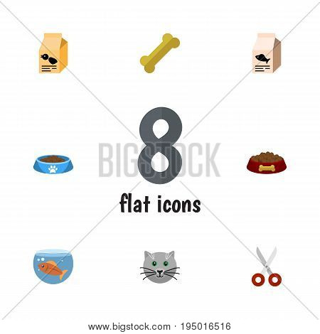 Flat Icon Pets Set Of Shears, Cat  Eating, Nutrition Box And Other Vector Objects. Also Includes Fishbowl, Scissors, Box Elements.