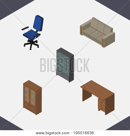 Isometric Furniture Set Of Table, Cabinet, Sideboard And Other Vector Objects. Also Includes Table, Armchair, Drawer Elements.