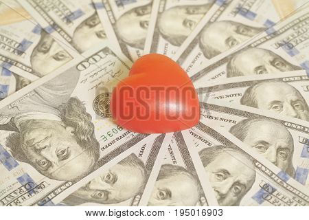 Red Heart And Hundred Dollar Bills Background
