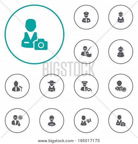Set Of 12 Professions Icons Set.Collection Of Working, Coder, Rancher And Other Elements.
