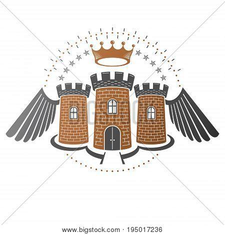 Ancient Bastion emblem. Heraldic vector design element. Retro style label heraldry logo. Ornate logotype on isolated white background.
