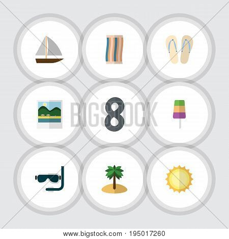 Flat Icon Season Set Of Coconut, Beach Sandals , Reminders Vector Objects. Also Includes Aqualung, Coconut, Vessel Elements.