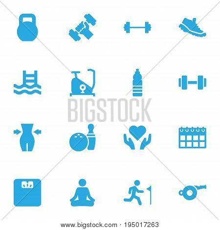 Set Of 16 Bodybuilding Icons Set.Collection Of Heart In Hand, Training Bicycle, Date Elements.