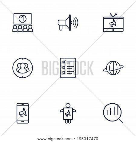 Set Of 9 Advertising Outline Icons Set.Collection Of Audience, Tv, Promotion And Other Elements.