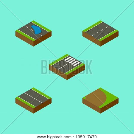 Isometric Way Set Of Plash, Rotation, Footer And Other Vector Objects. Also Includes Footer, Turning, Plash Elements.