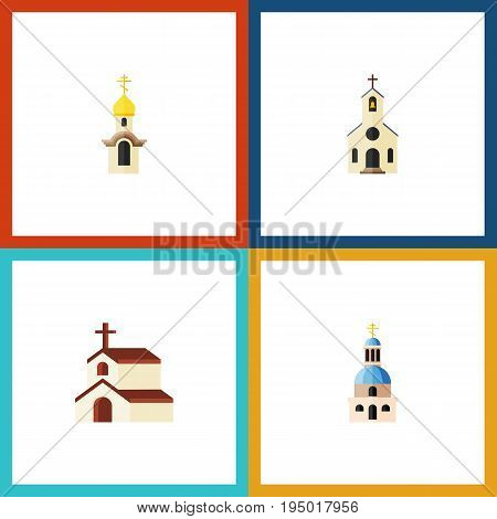 Flat Icon Church Set Of Church, Religion, Building And Other Vector Objects. Also Includes Building, Catholic, Christian Elements.