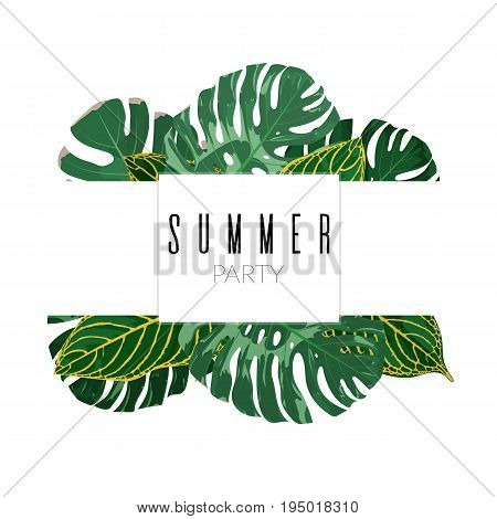 Summer Tropical Exotic Leaves Background