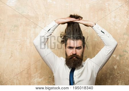 Bearded Man Or Hipster With Long Beard On Serious Face