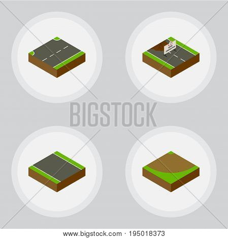 Isometric Road Set Of Upwards, Without Strip, Turn And Other Vector Objects. Also Includes Road, Upward, Under Elements.