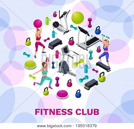 Isometric fitness poster with vector icons of sports equipment colorful background with dumbells platforms bosu ball or half ball bottle set of workout accessories template for flyer banner