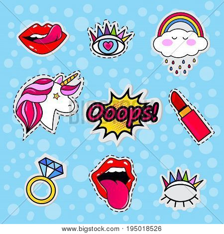 Fashion patch badges with lips, eyes, hearts, rings, diamond, speech bubbles, pomade,unicorn, lipstick and other elements.