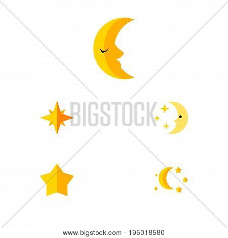 Flat Icon Bedtime Set Of Asterisk, Moon, Nighttime And Other Vector Objects. Also Includes Twilight, Sky, Moon Elements.