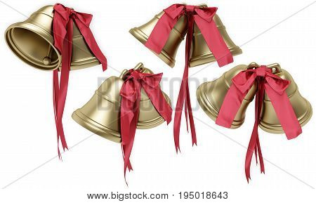 Golden bells with a red bow. 3D illustration isolated on a white background.