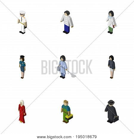Isometric People Set Of Seaman, Female, Male And Other Vector Objects. Also Includes Detective, Policewoman, Seaman Elements.