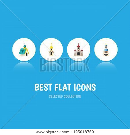 Flat Icon Building Set Of Structure, Traditional, Church And Other Vector Objects. Also Includes Catholic, Religious, Church Elements.