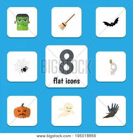 Flat Icon Festival Set Of Spinner, Superstition, Broom And Other Vector Objects. Also Includes Witch, Bat, Skull Elements.