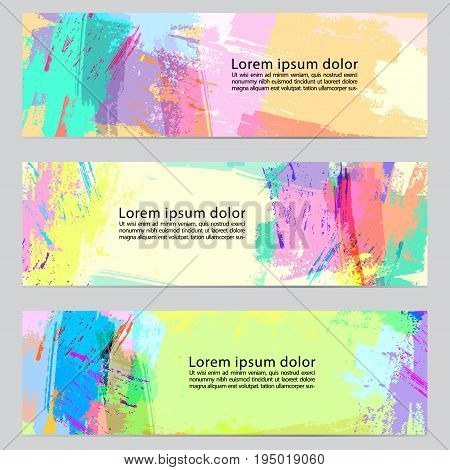 Set of three vector hand drawn abstract horizontal colorful banners. Cool painted vector backgrounds. Set of hand painted designs.