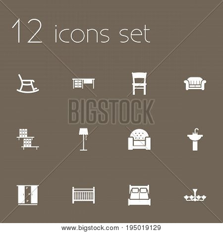 Set Of 12 Situation Icons Set.Collection Of Worktop, Cot, Rocking Furniture And Other Elements.