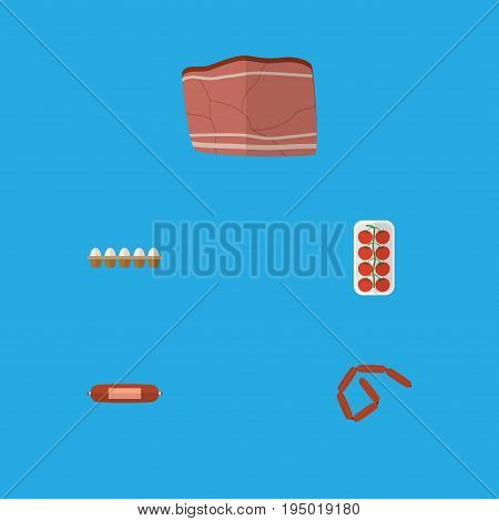 Flat Icon Food Set Of Kielbasa, Beef, Bratwurst And Other Vector Objects. Also Includes Beef, Egg, Love Elements.