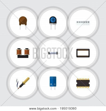 Flat Icon Device Set Of Transistor, Transducer, Triode And Other Vector Objects. Also Includes Soldering, Electronics, Mainframe Elements.