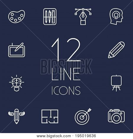 Set Of 12 Constructive Outline Icons Set.Collection Of Bezier Curve, Writing, Property Plan And Other Elements.