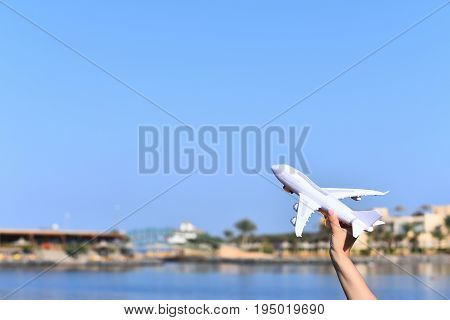Travel and vacations. Journey and adventure. Bussiness trip. Day of aviation. Postal delivery. Airplane model copy space