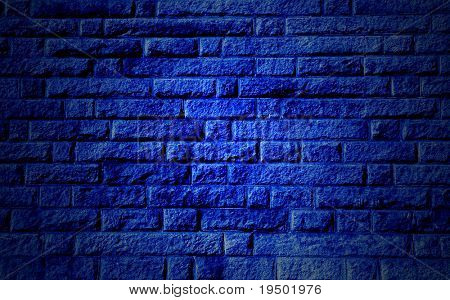Blue Stone Wall Background with Highlighted Center
