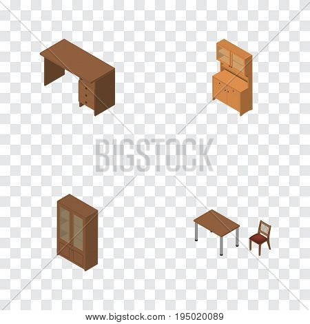 Isometric Furniture Set Of Cabinet, Chair, Cupboard And Other Vector Objects. Also Includes Wardrobe, Cupboard, Desk Elements.