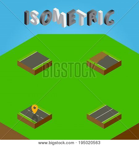 Isometric Way Set Of Plane, Unilateral, Incomplete And Other Vector Objects. Also Includes Flat, Unfinished, Location Elements. poster