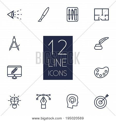 Set Of 12 Creative Outline Icons Set.Collection Of Paintbrush, Vision, Bezier Curve And Other Elements.