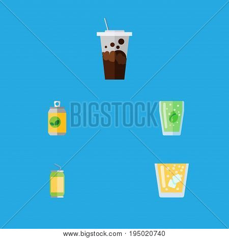 Flat Icon Drink Set Of Beverage, Lemonade, Cup And Other Vector Objects. Also Includes Soda, Cup, Juice Elements.