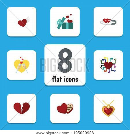 Flat Icon Amour Set Of Divorce, Necklace, Emotion And Other Vector Objects. Also Includes Celebration, Ribbon, Necklace Elements.