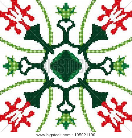 Halftone Colorful Seamless Retro Pattern Nature Red Flower Green Calyx Cross