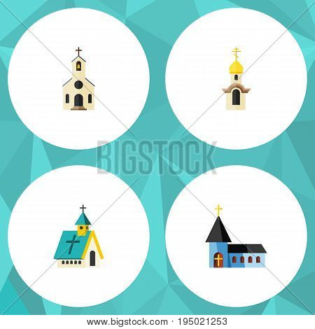 Flat Icon Church Set Of Christian, Building, Architecture And Other Vector Objects. Also Includes Building, Architecture, Church Elements.