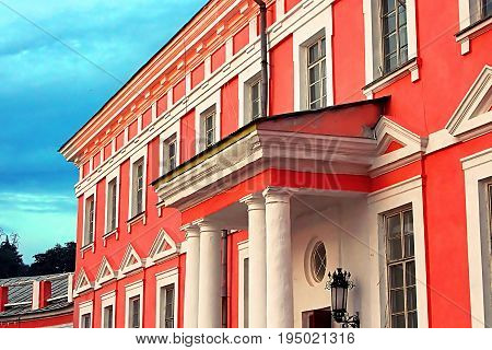 Ancient palace of the Polish tycoons Potocki in Tulchyn, Ukraine on the sunset