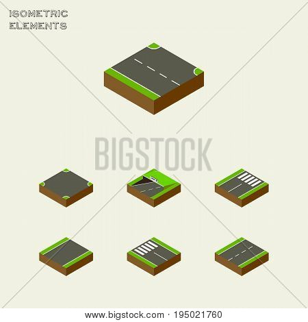 Isometric Way Set Of Strip, Subway, Driveway And Other Vector Objects. Also Includes Strip, Subway, Intersection Elements.